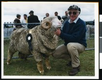 Image of Peter Kerr with his champion merino ram - Timaru Herald Photographs, Personalities Collection