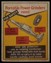 Image of For safety portable power grinders need ... [Department of Labour and Health safety poster] -