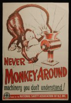 Image of Never monkey around machinery you don't understand! [National Safety Association of NZ safety poster] -