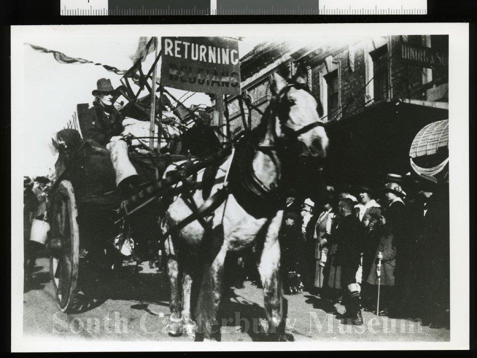 """ReturningBelgians"" float, Peace day parade, Timaru - South Canterbury Museum"