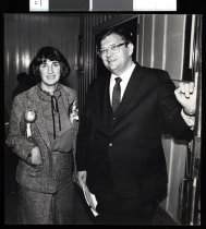 Image of David Lange (right) and an unidentified Labour supporter - Timaru Herald Photographs, Personalities Collection