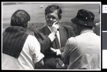 Image of David Lange (centre) - Timaru Herald Photographs, Personalities Collection