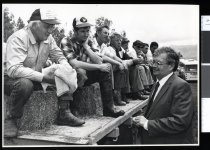 Image of David Lange talking to farmers - Timaru Herald Photographs, Personalities Collection