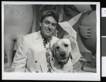 Image of Mark Leishman with Dexter the dog - Timaru Herald Photographs, Personalities Collection