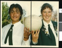 Image of Malopule Fiso and Kate McFarlane, netballers - Timaru Herald Photographs, Personalities Collection