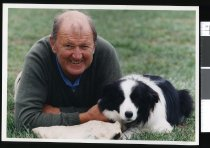 Image of Jim Mackenzie and dog - Timaru Herald Photographs, Personalities Collection