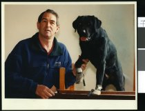 Image of Peter Menzies and dog Geordie - Timaru Herald Photographs, Personalities Collection