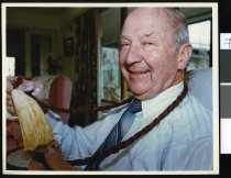 Image of Jim Morse and whales tooth - Timaru Herald Photographs, Personalities Collection