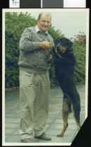Image of Jim McKenzie and dog - Timaru Herald Photographs, Personalities Collection