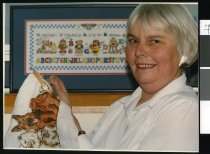 Image of Pat Naylor, cross stitch club - Timaru Herald Photographs, Personalities Collection