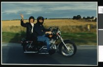 Image of Nan Raymond on a motorcycle - Timaru Herald Photographs, Personalities Collection