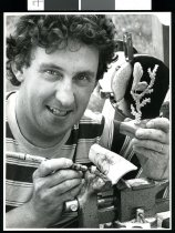 Image of Graham Robinson, bone carver - Timaru Herald Photographs, Personalities Collection