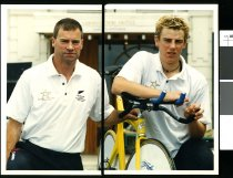 Image of Colin and Marc Ryan, cyclists - Timaru Herald Photographs, Personalities Collection