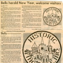 "Image of Newspaper article titled ""Bells Herald New Year, Welcome Visitors"" - 2009.1.107"