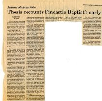 "Image of Newspaper article titled ""Thesis Recounts Fincastle Baptist's Early History"" - 2009.1.11"