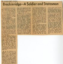 "Image of Newspaper article titled ""Breckinridge--A Soldier and Statesman"" - 2009.1.141"