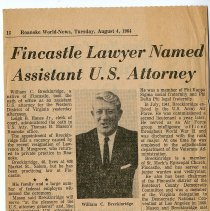 "Image of Newspaper article titled ""Fincastle Lawyer Names Assistant U. S. Attorney"" - 2009.1.144"