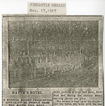 "Image of Newspaper article titled ""Hayth's Hotel; a Summer Resort Frequented Annually by People from the South and West--an Old and Popular House of Entertainment"" - 2009.1.170"