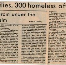 "Image of Newspaper article titled ""60 Families, 300 Homeless After Fire"" - 2009.1.181"