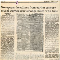 """Image of Newspaper article titled """"Newspaper headlines from earlier century reveal worries don't change much with time""""  - 2009.1.220"""