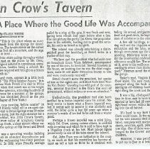 "Image of Newspaper article titled ""John Crow's Tavern: A Place Where the Good Life Was Accompanied by Frozen Imperials"" - 2009.1.239"