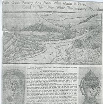 "Image of Newspaper article titled ""Potts Creek Pottery and the Man Who Made It Rated Good in Their Lines When the Industry Flourished"" - 2009.1.242"