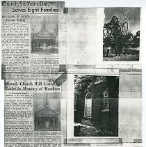 """Image of Newspaper articles titled """"Church 98 Year Old Serves Eight Families"""" and """"Historic Church Will Unveil Tablet in Memory of Members"""" - 2009.1.246"""