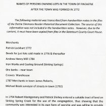 """Image of """"Names of Persons Owning Lots in the Town of Fincastle After the Town Was Formed in1772"""" - 2009.1.261"""