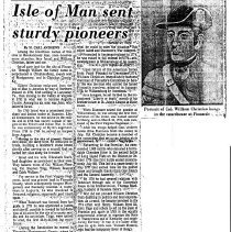 "Image of Newspaper articles titled ""Isle of Man Sent Sturdy Pioneers,""  ""Botetourt Falls Heir to Portrait, "" and ""Botetourt Ends Up With Unusual Portrait"" - 2009.1.272"