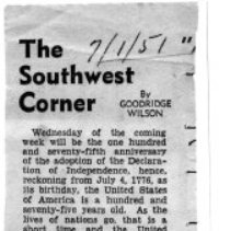 "Image of Newspaper article titled ""The Southwest Corner"" - 2009.1.281"