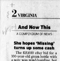 "Image of Newspaper article titled ""She Hopes 'Missing' Turns Up Some Cash"" - 2009.1.285"