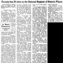 """Image of Newspaper article titled """"County Has 24 Sites on National Register of Historic Places""""  - 2009.1.286"""