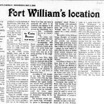 "Image of Newspaper article titled ""Fort William's Location"" - 2009.1.287"