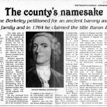 "Image of Newspaper article titled ""The County's Namesake; Norborne Berkeley petitioned for an Ancient Barony Associated with His Family and in 1764 He Claimed the Title of Baron Botetourt"" - 2009.1.289"