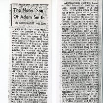 """Image of Newspaper article titled """"The Noted Son of Adam Smith"""" - 2009.1.46"""