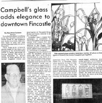 "Image of Newspaper article titled ""Campbell's Glass Adds Elegance to Downtown Fincastle"" - 2009.1.565"