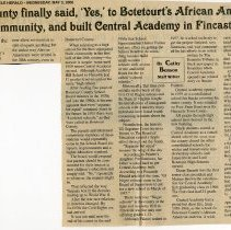 "Image of Newspaper article titled ""The County Finally Said 'Yes' to Botetourt's African American Community, and Built Central Academy in Fincastle"" - 2009.1.59"