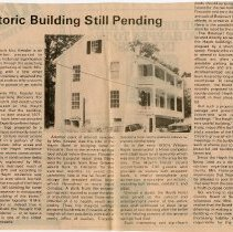 "Image of Newspaper article titled ""Fate of Historic Building Still Pending"" - 2009.1.65"