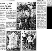 "Image of Newspaper article titled ""Trustees Trying to Raise Funds for Brick Union"" - 2009.1.295"