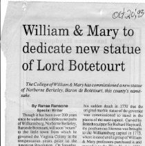 "Image of Newspaper article titled ""William & Mary to Dedicate New Statue of Lord Botetourt"" - 2009.1.296"