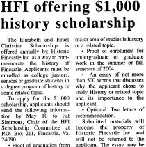 Image of Historic Fincastle, Inc.'s Elizabeth and Israel Christian Scholarship - 2009.1.303