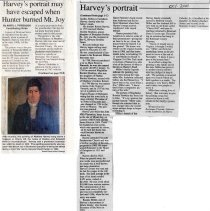 "Image of Newspaper article titled ""Harvey's Portrait May Have Escaped When Hunter Burned Mt. Joy"" - 2009.1.305"