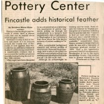 "Image of Newspaper article titled ""Pottery Center; Fincastle Adds Historical Feather"" - 2009.1.319"