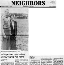 "Image of Newspaper article titled ""Holts Put on Tape History of Hawthorne Hall Home"" - 2009.1.323"