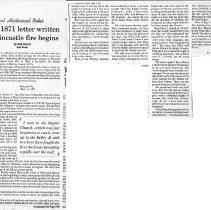 "Image of Newspaper article titled ""December 1871 Letter Written as Fincastle Fire Begins"" - 2009.1.335"