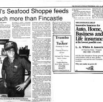 """Image of Newspaper article titled """"Bill's Seafood Shoppe Feeds Much More Than Fincastle"""" - 2009.1.421"""
