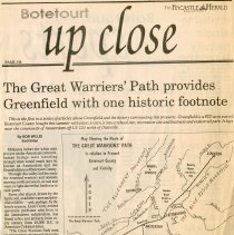 "Image of Newspaper articles titled ""The Great Warriors' Path Provides Greenfield with One Historic Footnote,"" ""William Preston, Watchdog of the Virginia Frontier, Accumulated 2,175 Ac. at Greenfield,"" and ""93 Year Old Bob Preston Lone Survivor at Greenfield"" - 2009.1.438"
