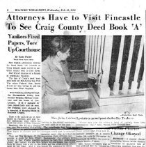"Image of Newspaper article titled ""Attorneys Have to Visit Fincastle to See Craig County Deed Book ""A"" - 2009.1.440"