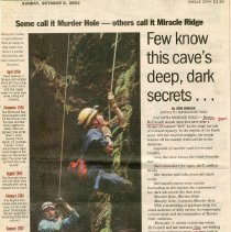 "Image of Newspaper article titled ""Some Call It Murder Hole--Others Call It Miracle Ridge"" - 2009.1.452"