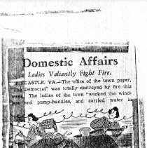 "Image of Newspaper article titled ""Domestic Affairs;  Ladies Valiantly Fight fire"" - 2009.1.483"